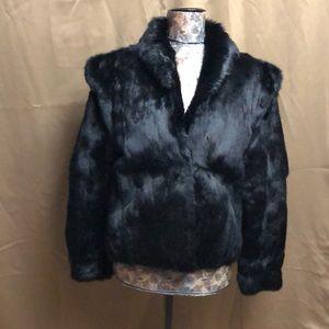 Black 100% rabbit fur short coat
